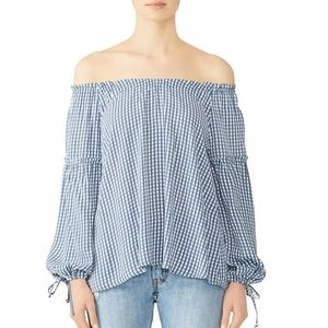 Flynn Skye blue plaid bobby blouse, size L